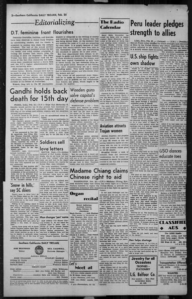Daily Trojan, Vol. 34, No. 92, February 25, 1943