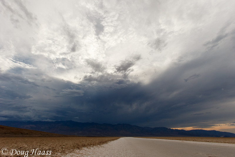 Badwater Basin with storm clouds