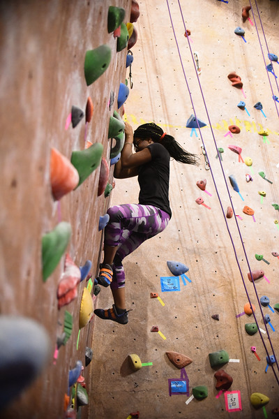 Abby Dione, the first black female owner of a climbing gym in the US, led an all female climbing session in the Ritt Kellogg Climbing Gym. Oct. 3, 2018