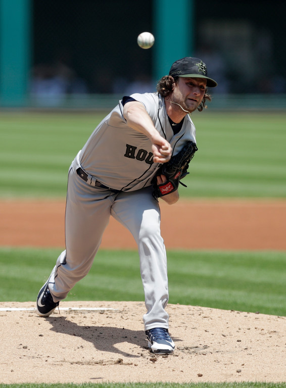 . Houston Astros starting pitcher Gerrit Cole delivers in the first inning of a baseball game against the Cleveland Indians, Sunday, May 27, 2018, in Cleveland. (AP Photo/Tony Dejak)