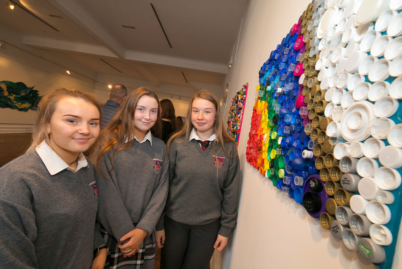 "15/01/2019. FREE TO USE IMAGE. Pictured at Garter Lane Arts Centre, Waterford city at an art exhibition ""the good, the bad and the ugly"" that discusses plastics. Recycle, reuse, reduce, replace – WIT and Waterford schoolgirls to exhibit exceptional art installation with thought-provoking components made from household plastics, pictured are Caoimhe Forest, Muireann Kinsella, Chloe Brianna from Waterpark School. Coordinated by Calmast, Waterford Institute of Technology's STEM (science, technology, engineering and maths) outreach centre, with support from Creative Ireland (Waterford), girls from Presentation Primary and Presentation Secondary Schools created an exceptional art exhibition that discusses plastics. Picture: Patrick Browne"