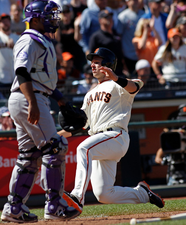 . San Francisco Giants\' Buster Posey, right, slides into home behind Colorado Rockies catcher Wilin Rosario during the sixth inning of a baseball game, Sunday, May 26, 2013 in San Francisco. (AP Photo/George Nikitin)