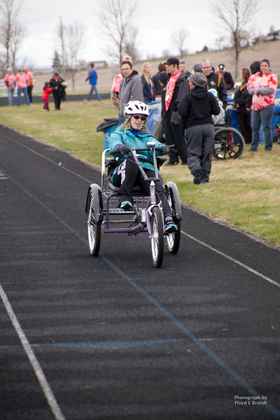 Havre Daily News/Floyd BrandtSpecial Olympics 'Great Northern Area Games' held at Havre Middle School Wednesday. Athletes from North Central Montana competed in events preparing for the upcoming state wide games in Missoula starting May 16. Keeley Wilson competing in cycling.