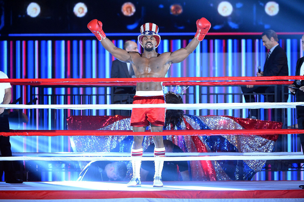 ". Terence Archie and the cast of ""Rocky\"" performs during the 68th Annual Tony Awards at Radio City Music Hall on June 8, 2014 in New York City.  (Photo by Theo Wargo/Getty Images for Tony Awards Productions)"