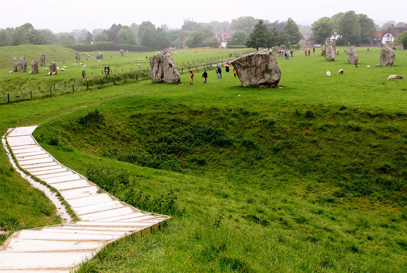 Though less well known the henge at Avebury is one of the finest and largest.  It is 5,000 years old and close to 1,400 feet in diameter.  Note the chalk just below the topsoil.