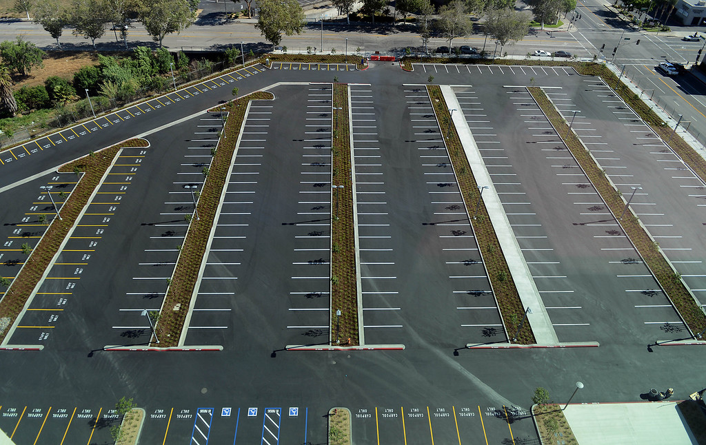 . The parking lot for the new San Bernardino Justice Center in downtown San Bernardino, CA, Monday, April 28, 2014. (Photo by Jennifer Cappuccio Maher/Inland Valley Daily Bulletin)