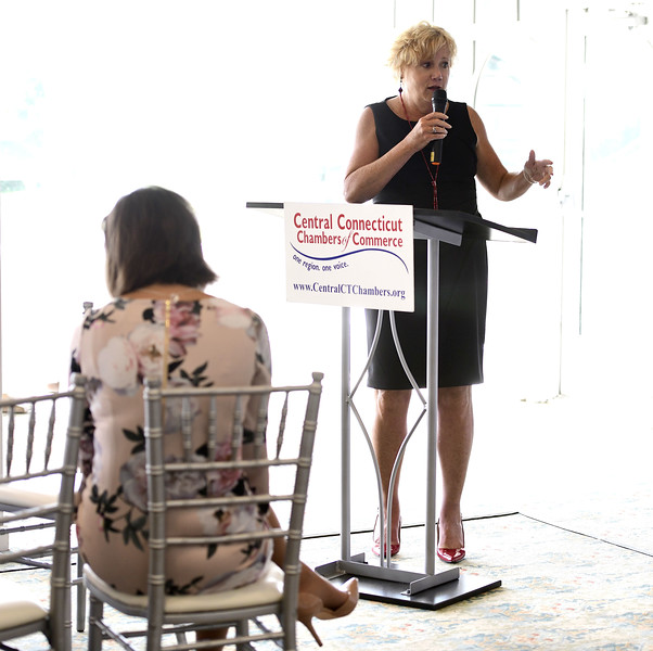 6/12/2019 Mike Orazzi | Staff Cindy Bombard, President & CEO of the Central Ct Chambers of Commerce during Wednesday morning's state of the city & towns breakfast hosted by the Central Connecticut Chambers of Commerce at Chippanee Golf Club in Bristol.