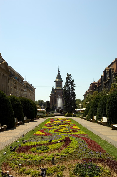 Orthodox Cathedral and Piata Victoriei, Timisoara, The Banat, Romania