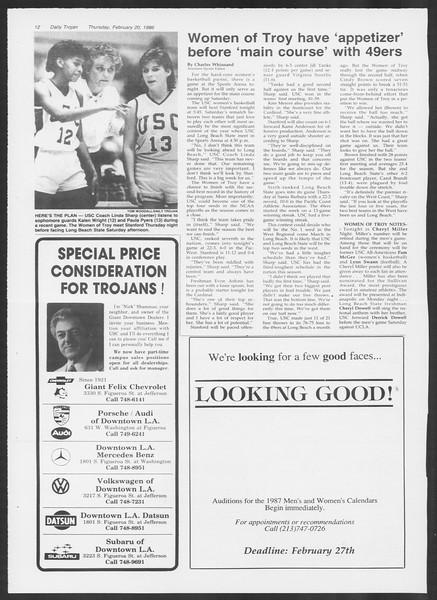 Daily Trojan, Vol. 100, No. 28, February 20, 1986