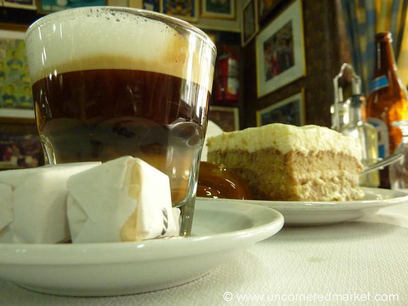Cafe Cortado and Pave de Vanilla - Buenos Aires, Argentina