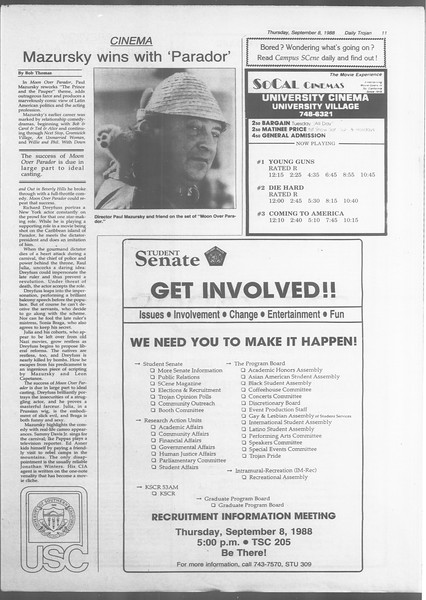 Daily Trojan, Vol. 107, No. 3, September 08, 1988