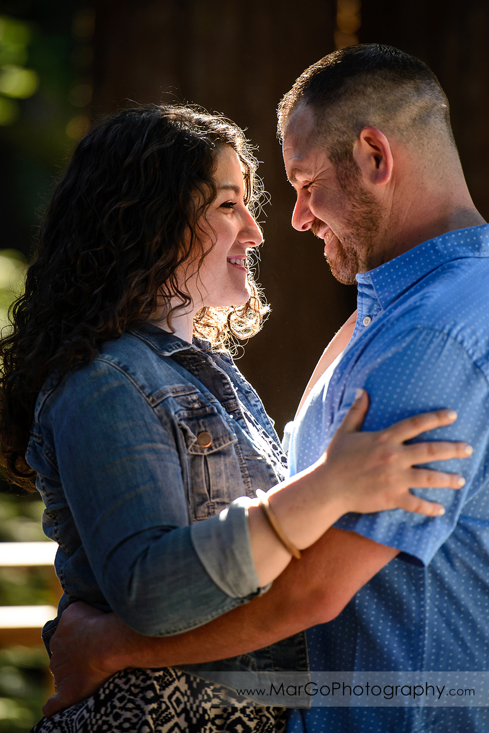 engaged couple together at Sanborn County Park