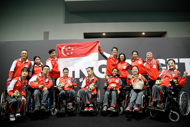 PARA BOCCIA - Boccia Team Singapore Posing together after the victory ceremony. At Hall 6, Mitec, on 22nd Sep 2017. (Photo by Sanketa Anand)