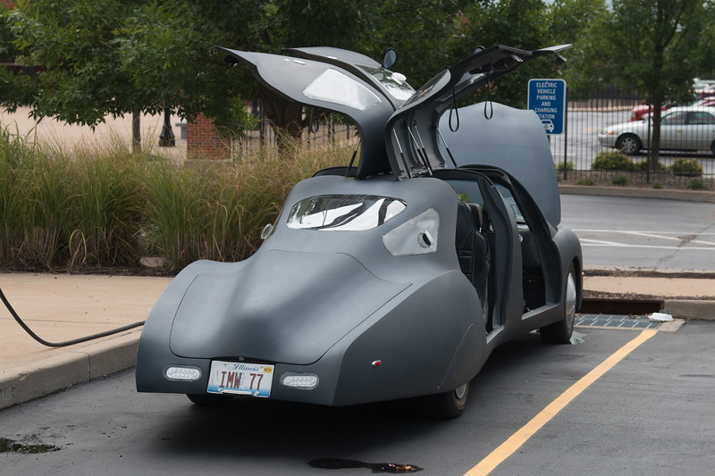 Carbon-fiber concept car from Illuminati Motor Works (Springfield, IL) (2nd prize winner nationally in automotive X-prize) at St. Lois Science Center. We talked to the Team Leader at length about the car.
