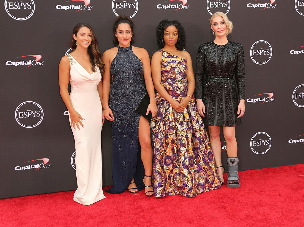 . Gymnast Aly Raisman, gymnast Jordyn Wieber, former Michigan State softball player Tiffany Thomas Lopez and Sarah Klein arrive at the ESPY Awards at Microsoft Theater on Wednesday, July 18, 2018, in Los Angeles. (Photo by Willy Sanjuan/Invision/AP)