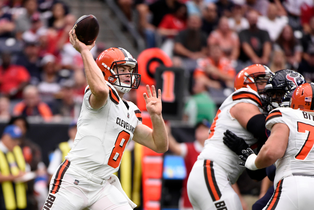 . Cleveland Browns quarterback Kevin Hogan (8) throws a pass during an NFL football game against the Houston Texans on Sunday, Oct. 15, 2017, in Houston. (AP Photo/Eric Christian Smith)