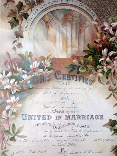 Marriage Record for Edwin Herdrich and Nellie Allen