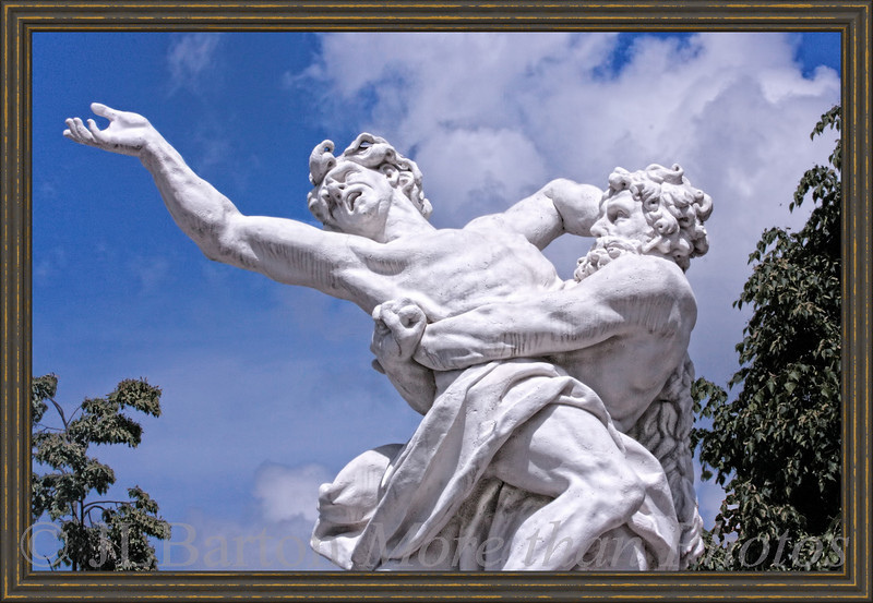 """Heros Still fighting at Schlosshof Hercules conquering Antaeus by denying him contact with the ground, from which he gained power. But, as the historians have documented, when you see Hercules at Schlosshof, think Prince Eugene of Savoy.  His own grave inscription was """"Invictimus"""" (the most unconquerable).  He was not humble."""