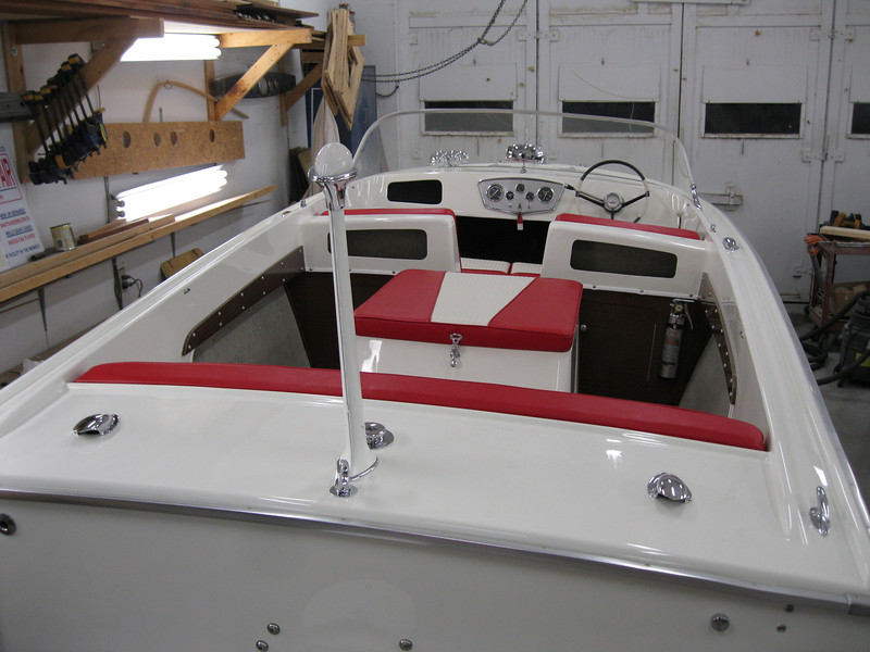 Rear view of completed boat with new intreior installed.