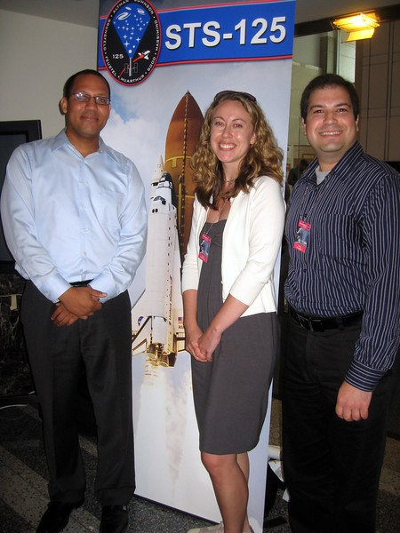 Darron (l), Heather, and Craig, reunited after meeting at the launch of STS-125