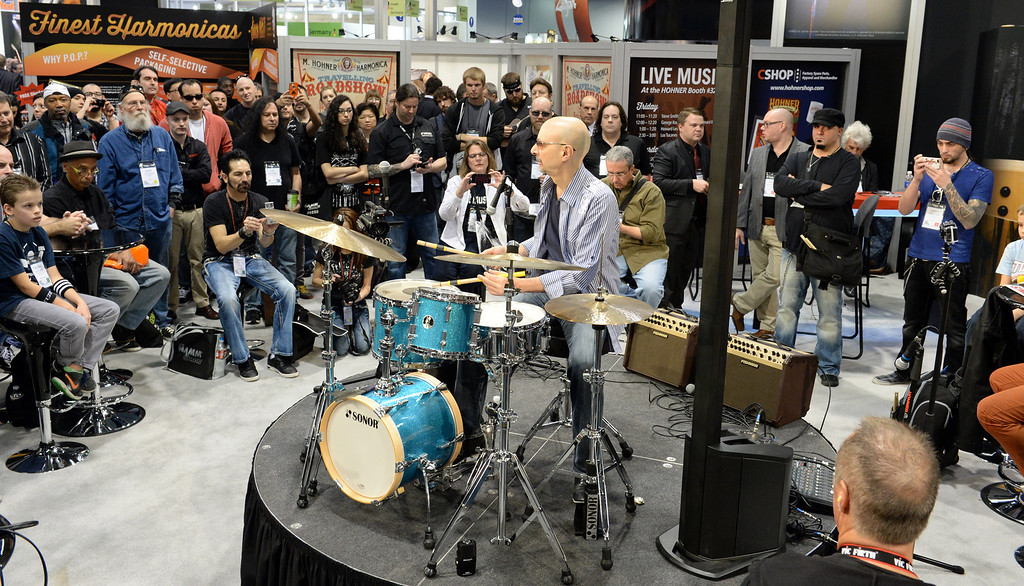 . Rock drummer Steve Smith performs in the Sonor drum booth during The NAMM (National Association of Music Merchants) Show, the world wide music trade show, at the Anaheim Convention Center in Anaheim on Friday January 24, 2014. NAMM is a music trade show drawing retailers and other industry people to Anaheim for four days of everything music. (Staff Photo by Keith Durflinger/San Gabriel Valley Tribune)