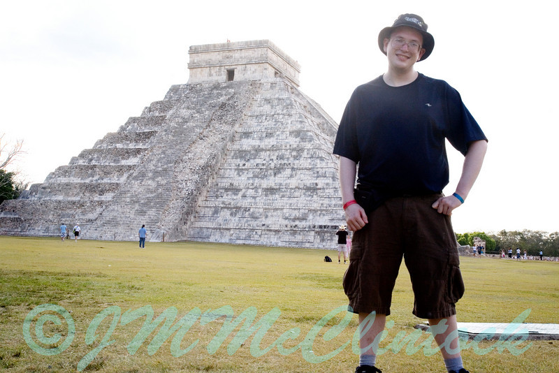 James and the pyramid.  Stephen took this low angle shot to make James look taller than the pyramid.