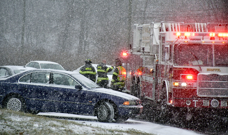 1/18/2020 Mike Orazzi | Staff The scene of a two-vehicle crash at the intersection of Riverside Avenue and Blakeslee Street in Bristol during Saturday's snow storm. No injuries were reported.