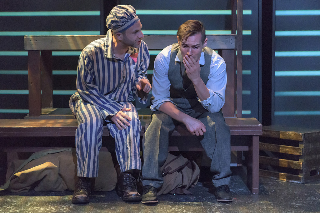 . Andrew Gorell, left, as Horst, and Geoff Knox, as Max, perform in the Beck Center for the Arts production of �Bent.� The show continues through July 1. For more information, visit beckcenter.org. (Andy Dudik)