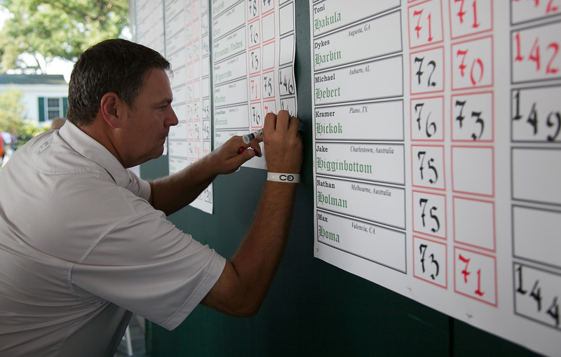 Keeping the score during second round medal play at the 2012 Western Amateur Championship at Exmoor Country Club in Highland Park IL. on Wednesday, August 1, 2012. (WGA Photo/Charles Cherney)