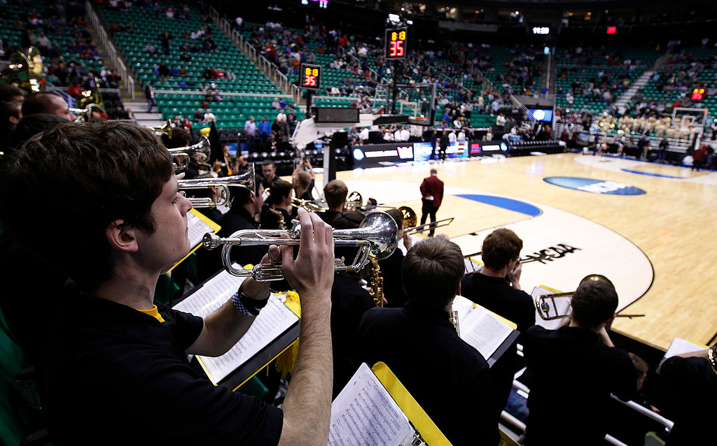 . The Wichita State band plays before their game against Pittsburgh  in a second-round game in the NCAA college basketball tournament in Salt Lake City Thursday, March 21, 2013. (AP Photo/George Frey)