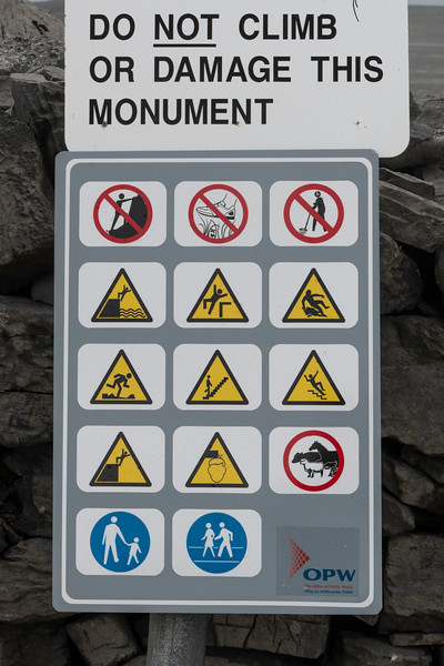 Close-up of warning signs at a prehistoric castle, Dun Aonghasa, Kilronan, Inishmore, Aran Islands, County Galway, Republic of Ireland