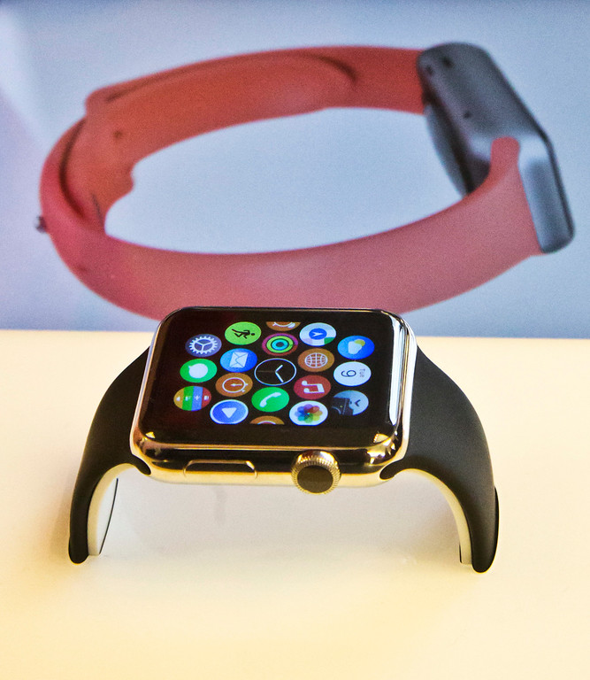 . The Apple Watch appears on display, Friday, April 10, 2015, in New York. Apple has started taking orders for the watch on its website and the Apple Store app. Currently, that\'s the only way Apple is selling the watch, with shipments scheduled to start April 24. (AP Photo/Bebeto Matthews)