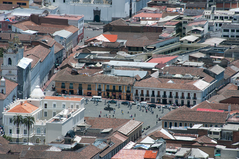Aerial view of Plaza de San Francisco in Quito, Ecuador