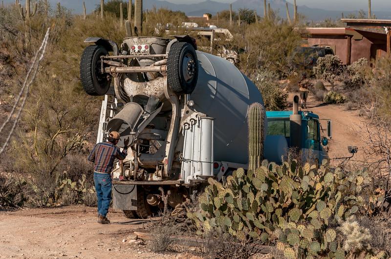 Concrete Truck  Backs In #1