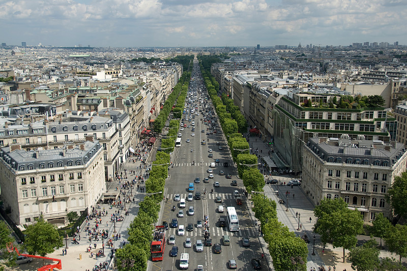 Busy traffic on a main street in Paris, France