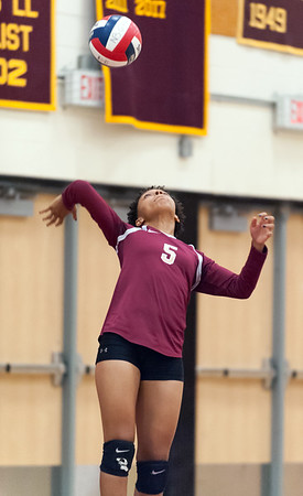 09/25/18 Wesley Bunnell | Staff New Britain girls volleyball was defeated by Simsbury on Tuesday night at New Britain High School. Raven Jarrett (5).