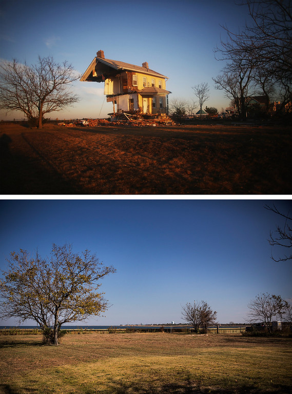 . UNION BEACH, NJ - NOVEMBER 21: (top) The iconic Princess Cottage, built in 1855, remains standing after being ravaged by flooding caused by Superstorm Sandy November 21, 2012 in Union Beach, New Jersey.  (Photo by Mario Tama/Getty Images) UNION BEACH, NJ - OCTOBER 22:  (bottom)  The spot was the Princess Cottage used to be is shown October 22, 2013 in Union Beach, New Jersey.  Hurricane Sandy made landfall on October 29, 2012 near Brigantine, New Jersey and affected 24 states from Florida to Maine and cost the country an estimated $65 billion.   (Photo by Andrew Burton/Getty Images)