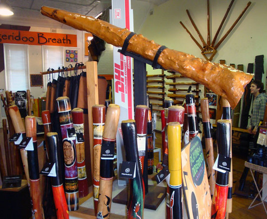 Didgeridoo shop. One of many art shops to be found in our port city of Fremantle, a short walk from the Roundhouse.