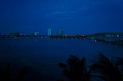 Singer Island Bridge at night. Riviera Beach, FL
