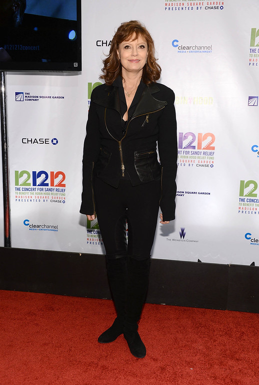 """. NEW YORK, NY - DECEMBER 12:  Actress Susan Sarandon attends \""""12-12-12\"""" a concert benefiting The Robin Hood Relief Fund to aid the victims of Hurricane Sandy presented by Clear Channel Media & Entertainment, The Madison Square Garden Company and The Weinstein Company at Madison Square Garden on December 12, 2012 in New York City.  (Photo by Dimitrios Kambouris/Getty Images)"""
