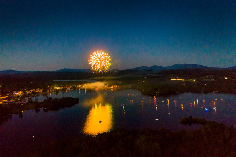Fireworks on Rangeley Lake for the 4th of July