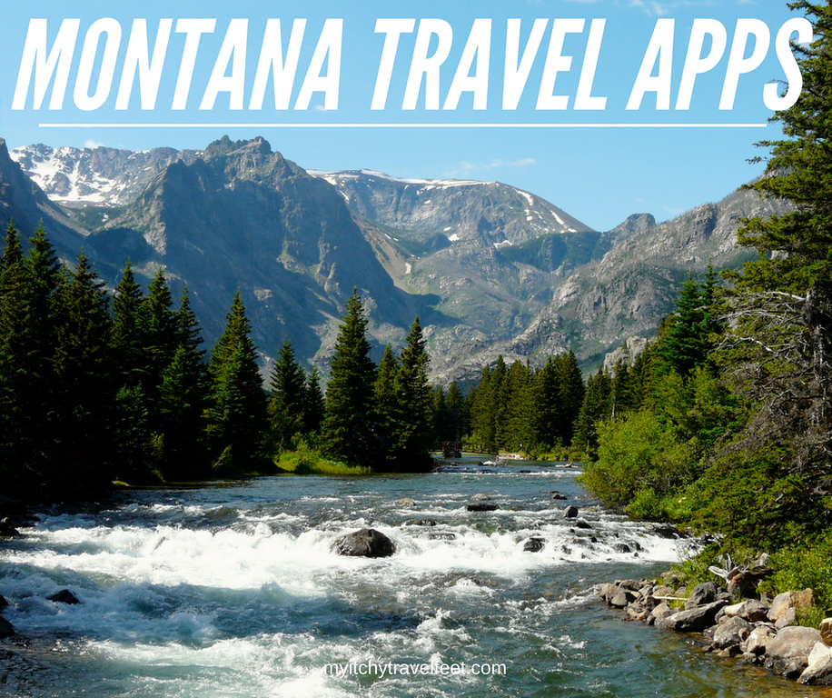 Text: Montana Travel Apps. Photo: rushing river with mountains in the distance