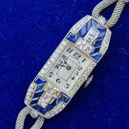 Art Deco Lady's Diamond and Sapphire Dress Watch, Platinum