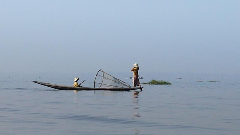 Traditional fisherman on Inle Lake, Burma (Myanmar).