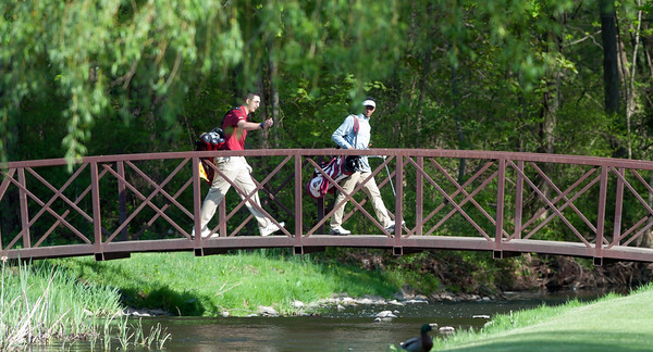 05/10/18 Wesley Bunnell   Staff New Britain golf defeated Bristol Eastern 212-219 at Stanley Golf Course on Thursday afternoon. New Britain's Arthur Bell, L, and Dylan Washington.