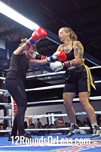 Bout #6:  Ammy Female Boxing, Selena Likens, Red Wrist Wraps -vs- Diane Jackson, Blue Wrist Wraps,155 Lbs