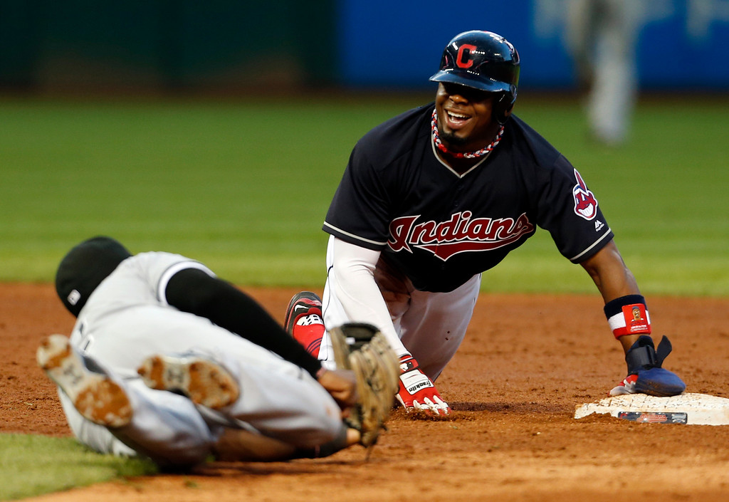 . Find a base stealer with Rajai Davis gone >> At 35, Rajai Davis was the oldest player on the roster last season. He also led the American League with 43 stolen bases, but after signing Encarnacion the Tribe had no money to re-sign Davis, who signed a one-year deal with Oakland. Austin Jackson, in camp as a non-roster invitee, isn�t that player. He had a career high 27 stolen bases with the Tigers in 2010. He suffered a knee injury with the White Sox last year and stole two bases in 54 games. (AP Photo/Ron Schwane)