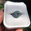 2.23ct Art Deco Emerald Cut and Turquoise Halo Ring 12