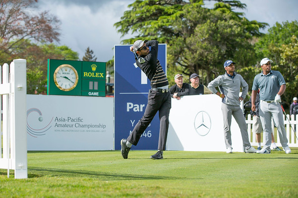 Yuvraj Sandhu from India on Practice Day 1 of the Asia-Pacific Amateur Championship tournament 2017 held at Royal Wellington Golf Club, in Heretaunga, Upper Hutt, New Zealand from 26 - 29 October 2017. Copyright John Mathews 2017.   www.megasportmedia.co.nz