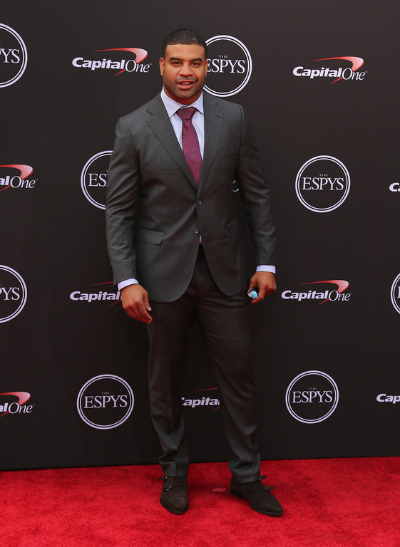 . Former NFL football player Shawne Merriman arrives at the ESPY Awards at Microsoft Theater on Wednesday, July 18, 2018, in Los Angeles. (Photo by Willy Sanjuan/Invision/AP)